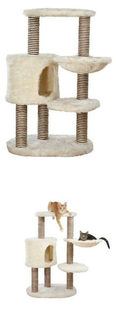 TRIXIE Pet Products Moriles Cat Tree House, Cream Covered in soft plush fabric inside and out. Soft sided condo with extra large opening. Hammock with metal rim for added support. 6 scratching posts covered in an attractive mix of brown and beige sisal. 2 lying platforms plus large base.  #TRIXIE_Pet_Products #Pet_Products