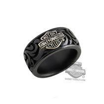 TR007SGBS - Harley-Davidson® Mens Stainless Steel B&S Logo 12mm Grey Titanium Band Ring by Stamper Black Hills Gold Jewelry - Barnett Harley-Davidson®