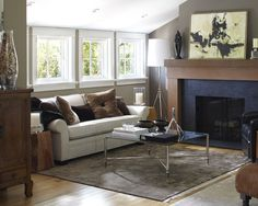 Contemporary Living Room Fire Place Mantel Design, Pictures, Remodel, Decor and Ideas - page 5
