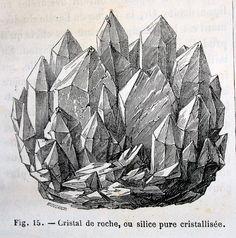 vintage mineral illustration - Cristal de roche, ou silice pure cristillisée.