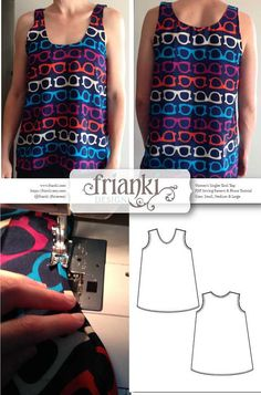 sewing top Women's Easy Singlet Tank Top PDF Sewing Pattern and by Frianki - Women's Easy Singlet Tank Top - PDF Sewing Pattern and Photo Tutorial - Sizes Small, Medium, Large, XL, XXL Sewing Clothes Women, Diy Clothes, Clothes For Women, Ladies Clothes, Pdf Sewing Patterns, Clothing Patterns, Make Your Own Clothes, Clothing Hacks, Thing 1