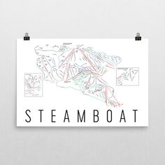 Steamboat Springs Ski Map Art, Steamboat Springs CO, Steamboat Trail Map, Steamboat Ski Resort Print, Steamboat Springs Poster, Art, Gift