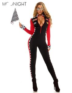 MOONIGHT Long Sleeve Sexy Uniforms Race Car Driver Halloween Costumes For Women Deep V Sexy Game Uniforms Clothing Jumpsuits