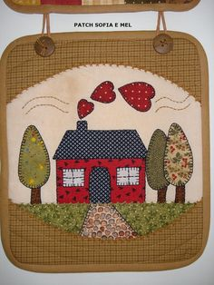 Do a potholder of flat to frame of home neighbors/family are moving out of House Quilt Patterns, House Quilt Block, House Quilts, Quilt Block Patterns, Applique Patterns, Applique Quilts, Applique Designs, Quilt Blocks, Small Quilts