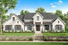 Find your dream modern-farmhouse style house plan such as Plan which is a 2751 sq ft, 4 bed, 3 bath home with 2 garage stalls from Monster House Plans. Country Style House Plans, Craftsman Style House Plans, Modern Farmhouse Style, Farmhouse Design, French Country Farmhouse, Rustic Farmhouse, 4 Bedroom House Plans, Farmhouse Floor Plans, Porche