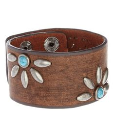 Turquoise & Brown Leather Flower Bracelet