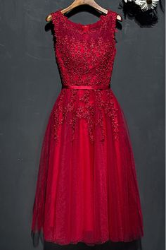 Shop Short Lace Burgundy Lace Party Dress For Weddings online. SheProm offers formal, party, casual & more style dresses to fit your special occasions.