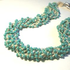 Aqua Crochet Necklace . Multi Strand Necklace . Beaded Crochet Jewelry . Turquoise Blue . Made To Order
