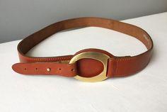 Vintage Large Leather Belt Women Cognac Brown Waist Leather | Etsy