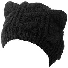 Choies Women's Acrylic Cat Ears Knit Black Beanie Hat (€11) ❤ liked on Polyvore featuring accessories, hats, knit beanie hat, knit hat, beanie hat, cat ear beanie hat and knit cat ear hat