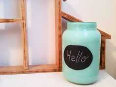 "DIY - painted jars with chalkboard paint ""labels"""
