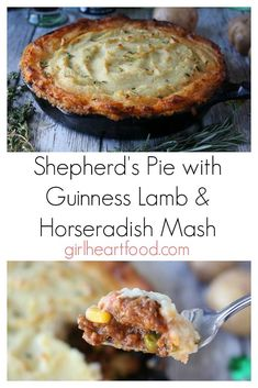 A classic comfort food dish! This traditional shepherd's pie with lamb and horseradish mashed potatoes is delicious and hearty! Irish Recipes, Casserole Recipes, Meat Recipes, Real Food Recipes, Cooking Recipes, Barbecue Recipes, Easy Cooking, Delicious Recipes, Dinner Recipes