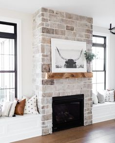 Living Spaces - Oakstone Homes My Living Room, Home And Living, Living Room Decor, Living Spaces, Kitchen Living, Room Kitchen, Simple Living, Home Fireplace, Fireplace Design