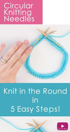 How to Knit on Circular Needles in 5 Easy Steps for Beginning Knitters with Studio Knit Watch Free Knitting Video Tutorial Knitting Help, Knitting Videos, Knitting For Beginners, Loom Knitting, Knitting Stitches, Knitting Socks, Start Knitting, Knitting Tutorials, Beginning Knitting Projects