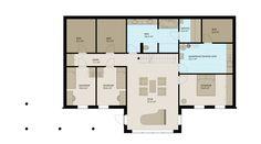 I sokkeletasjen kan barna regjere. Her finner du tre soverom og ei romslig stue. Også denne stua har vinduer fra gulv til tak, og herfra er det direkte utgang til en delvis overbygd terrasse. Badet i sokkelen er stort, med plass til dobbelvask, badekar, dusj og wc, og direkte tilgang til ei herlig badstue.