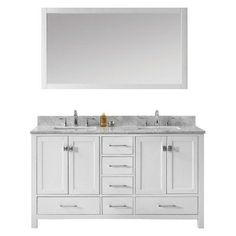 Virtu USA Caroline Avenue 60-in. Double Bathroom Vanity with Square Sink - GD-50060-BGSQ-WH-002