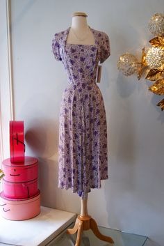 Vintage 1940s Dress // 40's Rayon Flower Garden by xtabayvintage, $198.00