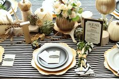 Black And White Place Settings Black White And Gold Thanksgiving Table Settings Blue Holiday Entertaining Tips White And Gold Table Decorations Com Black Settings Black And White Place Settings Thanksgiving Table Settings, Thanksgiving Tablescapes, Diy Thanksgiving, Holiday Tables, Thanksgiving Decorations, Christmas Decorations, Table Decorations, Halloween Decorations, Christmas Ideas
