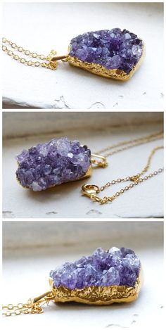 Good quality amethyst crystal necklaces dipped in gold. Size of amethyst pendant: A 30mm B 30mm C 32mm D 35mm E 34mm F 40mm G 40mm H 33mm I 32mm J 38mm K 43mm L 45mm M 35mm N 40mm  Length of necklace: Total 19-31inch Color: Nickel free durable 18k gold plated necklace, made of brass.   OOAK items. You will receive a product exactly same with the pictures. Please choose your favourite amethyst in the listing. Thanks ﹎﹎﹎﹎﹎﹎﹎﹎﹎﹎﹎﹎﹎﹎﹎﹎﹎﹎﹎﹎﹎﹎﹎﹎﹎﹎﹎﹎﹎﹎﹎﹎   Processing time: 3-5 working days   Gift…