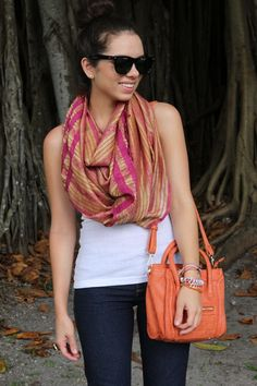Basic tank and jeans with bright fun accessories. <3 scarf