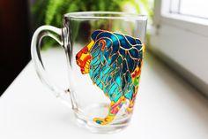 Lion Coffee Mug Painted Mugs Funny Custom Lion Mug Cute Lion Gift Mug Personalized Mugs Lion Cup Colorful Lion Lovers mug Glass Ceramic Mugs