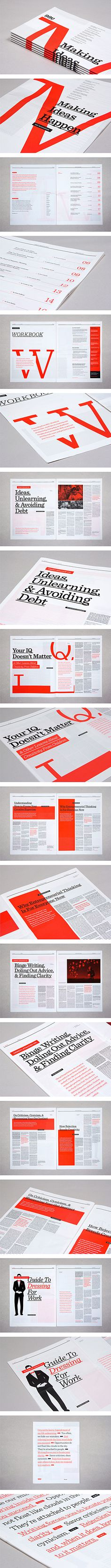 grid + typography + illustration + finishing + print in general // 99U annual magazine