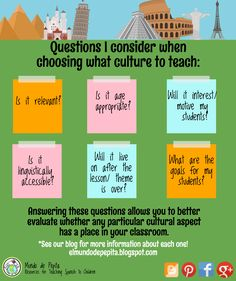 Want to integrate culture into your foreign language instruction and classroom? Here are ideas to do just that! #culture #comprehensible input Mundo de Pepita, Resources for Teaching Spanish to Children
