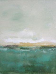 Abstract Landscape Painting Orignal Art - Green Yellow Seascape 11 x 14: