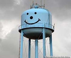 Towns with Smiley Face Water Towers    Smiley Face water towers can be found from Atlantic coast towns clear out to the Great Plains. We're not sure why the phenomenon peters out short of the Rockies. Here is a list of current Smile Face water tower sightings. If you notice something we've missed, or can contribute a photo -- let us know.