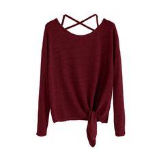 SheIn(sheinside) Burgundy Drop Shoulder Criss Cross Tie Front T-Shirt ($8.99) ❤ liked on Polyvore featuring tops, t-shirts, burgundy, long sleeve polyester t shirts, round neck t shirts, red tee, red long sleeve tee and red long sleeve t shirt