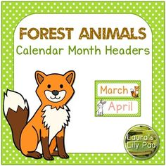 Forest Animals Theme Calendar Months of the YearThese calendar header months of the year printables include all of the months of the year with a green dotted border and forest animal theme clip art.  Animals included are owl, snake, fox, rabbit, bear, porcupine, moose, raccoon, skunk, deer, squirrel, and woodpecker.These are perfect for a forest themed classroom.I hope to add more Forest themed items soon, so if you like these graphics, please send me a message with…