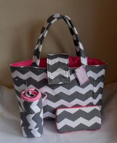Large Gray Chevron and Hot Pink Diaper Bag Set with Changing Mat and Baby Wipes Case on Etsy, $69.99