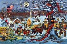 Artist Charles Wysocki Unframed Holiday Picture Small Town Christmas | WildlifePrints.com