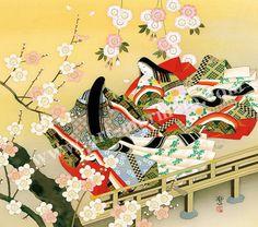 東聖観 「橋姫宇治に咲く華」 源氏物語の色紙アートプリントの額装。