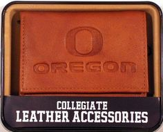 NCAA Oregon Ducks Embossed Trifold Wallet by Rico. $18.65. Genuine leather trifold wallet embossed with team logo. ID window and credit card pockets. Team logo embossed to last. Genuine cowhide pecan leather with marbling. NCAA Oregon Ducks Embossed Trifold Wallet
