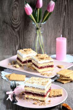 Kocke sa vanilom i malinama MINJA Kitchen Recipes, Baking Recipes, Cake Recipes, Dessert Recipes, No Bake Desserts, Healthy Desserts, Posne Torte, Torta Recipe, Kolaci I Torte