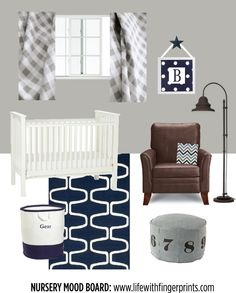 Life with Fingerprints: Navy and Gray Nursery mood board