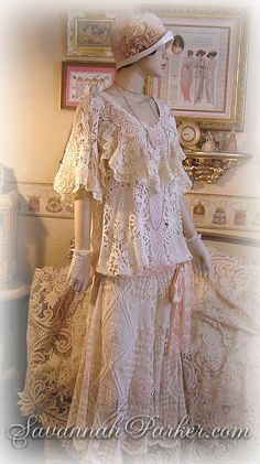 Gorgeous antique style Downton Abbey 1920s vintage lace dress and silk cloche hat of ivory and peach antique lace; for a garden party or romantic wedding - an original by www.savannahparker.com......all handsewn with exquisite vintage and antique laces, vintage silk satin and handmade silk flowers