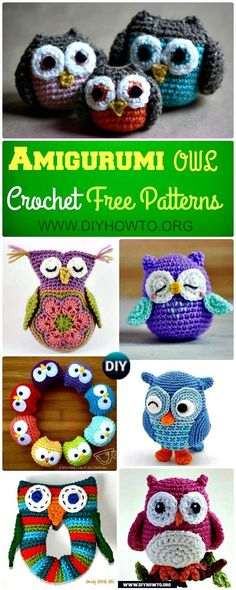 Amigurumi Crochet Owl Free Patterns Instructions: #Crochet Owl Toys, Ornaments, Baby Gifts, Home Decor, Owl Pillows and More via DIYHowTo