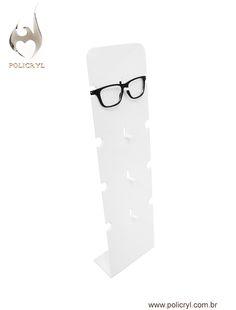 Suporte de óculos em acrílico branco, perfeito para a sua loja.  Glasses support in white acrylic, perfect for your store.