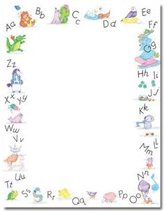 Alpha Border Letterhead, 80 Count, This colorful x paper is perfect for creating your own invitations, announcements and personal messages. Paper is compatible with most inkjet and laser printers. Boarder Designs, Page Borders Design, Letterhead Paper, Stationery Paper, Borders For Paper, Borders And Frames, Kindergarten Portfolio, Printable Alphabet Letters, School Frame