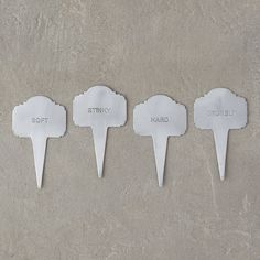 """Help party guests navigate the cheese board with ease using these playful marker stakes, each set designed and hand-crafted especially for terrain.- A terrain exclusive- Set of 4- Aluminum- Hand wash and dry with soft cloth- Food safe- ImportedEach: 4""""H, 2.25""""W"""