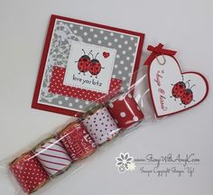 I used the Stampin' Up! Love You Lots and Sealed With Love stamp sets to create a mini Valentine card and a little treat holder to share with you today. My card design was inspired by Mojo Mo…