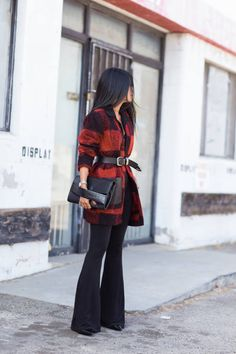 Black And Red Plaid Belted coat