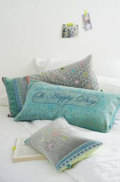 Cushions from Taj Wood & Scherer  cool colours