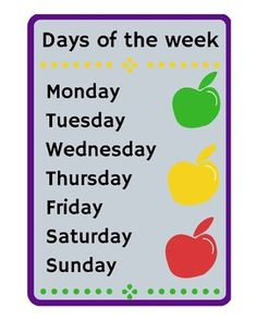 Days of the week 1 - ApplesLearn the days of the week in English.Learn how to spell the days of the week in English. Blue Butterfly, Teacher Newsletter, Teacher Pay Teachers, Spelling, Apples, Worksheets, Teaching Ideas, Kindergarten, English
