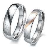"KONOV Jewelry Lover's Mens Ladies Heart Shape Titanium Stainless Steel Promise Ring ""Real Love"" Couples Engagement Wedding Bands, Color Silver Black Gold (Available in Size 5, 6, 7, 8, 9, 10, 11, 12, 13, 14, 15)"