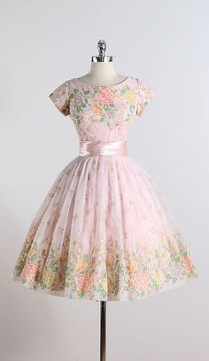 GARDEN CONFECTION ➳ vintage 1950s dress  * pink chiffon * satin waist bow accent * acetate & muslin lining * beautiful flocked floral print * metal back zipper *