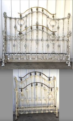 www.cathousebeds.com One of our circa 1800 double size iron beds that we converted to a king size for a client. Antique Iron Beds, Vintage Bed Frame, King Size, Curtains, Shower, Rain Shower Heads, Blinds, Showers, Draping