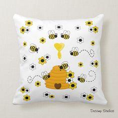 BUMBLE BEE PILLOW Honey Hive Floral Decor